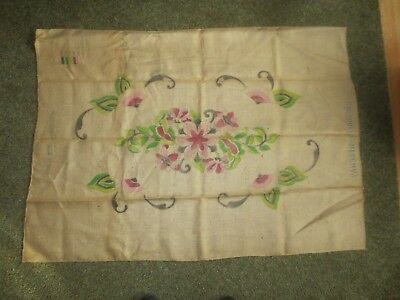 """Vintage """"WINTHROP"""" FLORAL Latch Hook PRINTED CANVAS ONLY - 29"""" x 47 1/2"""" Oval"""