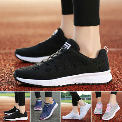 Ladies Fitness Lace Up Shoes Casual Outdoor Sneakers Tennis Running Gym Sports