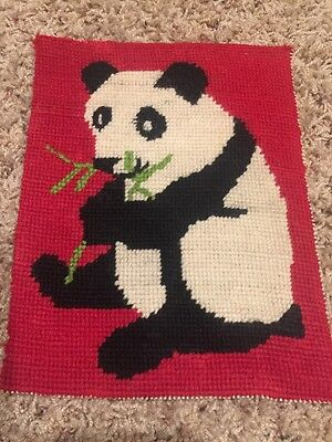 Vintage Antique Completed Needlepoint Tapestry Oriental Panda Bear Bamboo