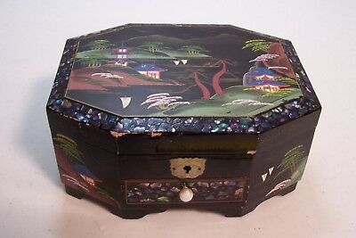 Vintage Oriental Lacquered Musical Jewelery Box Mother Of Pearl Inlay Beautiful