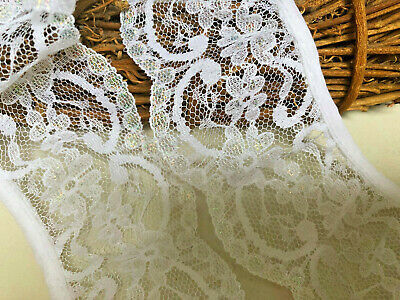 """*New Arrival*  65mm/2.5"""" Iridescent White Nottingham Frilled Gathered Lace."""