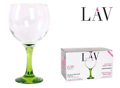Box of 6 Gin and tonic cocktail balloon glasses 650ml COLOURS foot £27.99!!