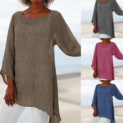 Plus Size Womens 3/4 Sleeve Blouse Shirt Ladies Plain Baggy Casual Tunic Tops