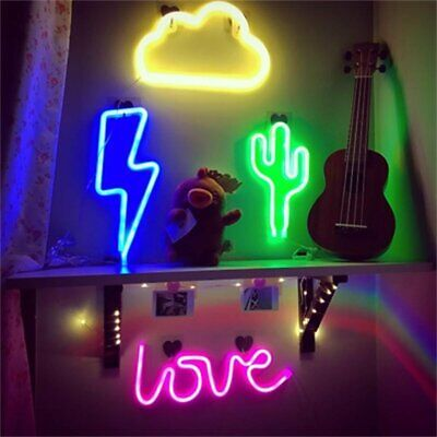 LED Lightning Shape Neon Light Sign Beer Bar Home Wall Display Decorative Gifts