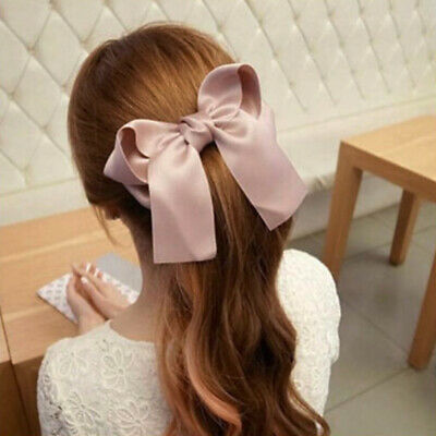 Vintage Girls Women Hairpin Hair Clamp Ribbon Large Bow Clip Spring Barrette 1PC