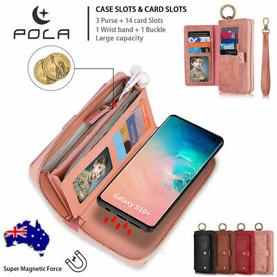 For Samsung Galaxy S10+ 5G S9 Leather Wallet Case Detachable Magnetic Flip Cover