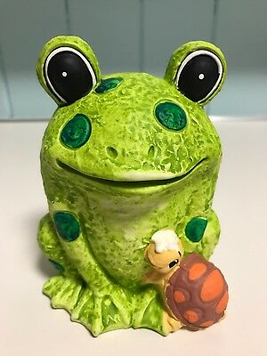 """Vintage 1960s-1970s Frog & Turtle 6"""" Coin Bank by New Trends Inc. Japan"""