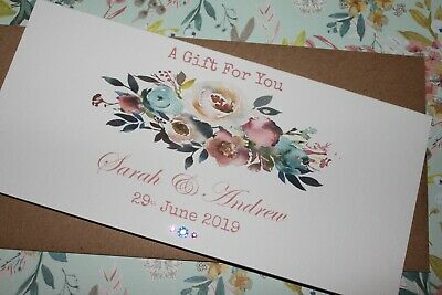 Handmade Personalised Floral Wedding Money Voucher Gift Card Wallet