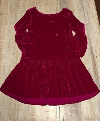 Peek Girls 'Anastasia' Crushed Velvet Dress Tunic Red Pink  Size Medium (6/7)