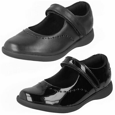 Clarks Girls 'Etch Craft' Black Leather Or Patent School Shoes