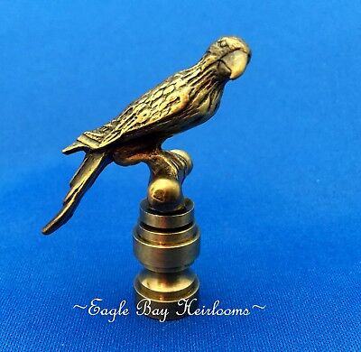 """Lamp Shade Finial - Aged BRASS - Parrot - Antique Finish  2.25"""" High - Die Cast"""