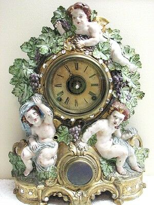 Clock  Antique Noah Pomeroy Mantel Chime Wind Up Muller Cupid Cast Metal RARE