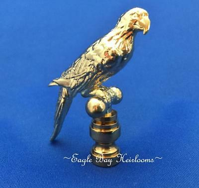 """Lamp Shade Finial - Brass Plated- Parrot - Polished & Lacquered 3"""" High Die Cast"""