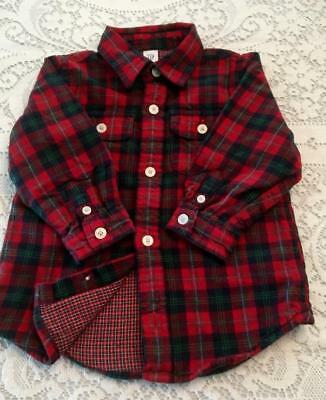 GAP Boys 12-18 Mo. Red & Green Flannel Cotton Long Sleeve Lined Shirt - EUC