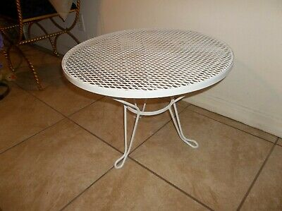 Vintage Wrought Iron SALTERINI Garden Patio Coffee Table Hairpin Legs White