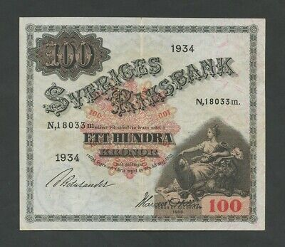 SWEDEN  100 kronor  1934  P36q  About Very Fine  Banknotes
