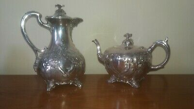 antique shaw & fisher silver plate teapot and coffee pot