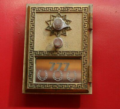 Vintage Bronze U.S.Post Office Box Door 1965 National lock lucky 777 mirror
