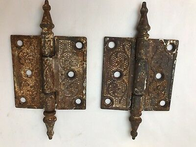 "2 Steeple Door Hinges Ornate 3""H x 3""W Victorian Eastlake Rusty Antique Reclaim"