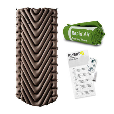 Klymit Static V (Tan) Inflatable Sleeping Pad w Klymit Camping Accessories Kit