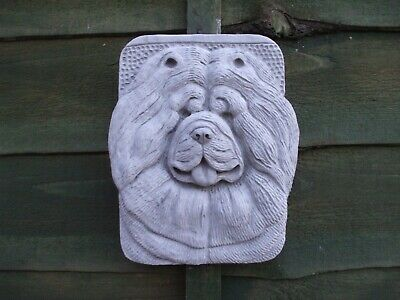 Stone Wall Plaque Of A Chow Chow  Dog Dogs Heads
