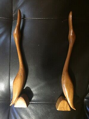 Abstract Hand Carved Wooden Ducks