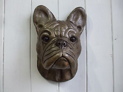 Large  Stone  Bronzed French Bulldog Dogs Head Wall Sculpture