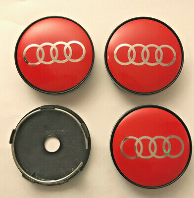 4 x Audi 60mm / 57mm Wheel Centre Hub caps Red / Silver New Emblems Top Stock