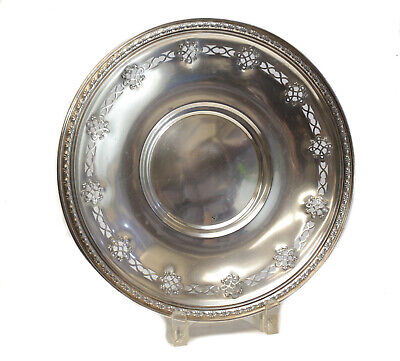 Whiting Mfg Co Sterling Silver Pierced Ornate Sandwich Plate #3962