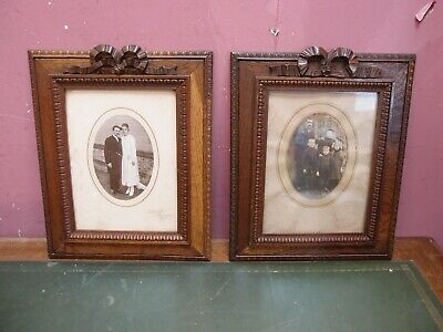 Pair Antique French Carved Oak Ribbon Crest Picture Photo Frames