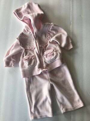 Calvin Klein Pink Velour Track Suit Size 0-3 Mo Infant Girls Outfit Set