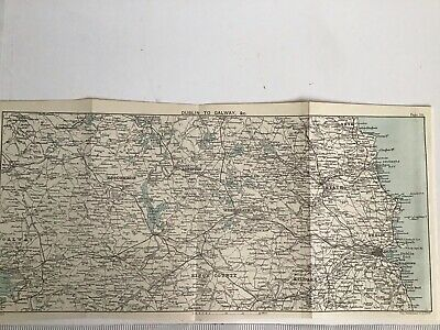 1894 Original Antique County Map Bartholomew, Ireland, Dublin to Galway