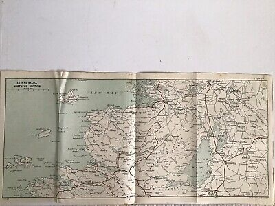 1894 Original Antique County Map Bartholomew, Ireland Connemara Northern Section