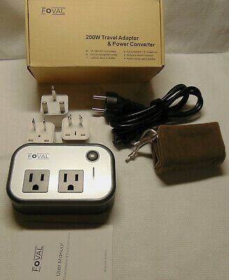 Foval 200W Travel Adapter & Power Converter with 4 USB Ports Type A,C,I and G