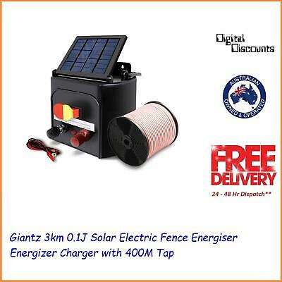 Giantz 3km 0.1J Solar Electric Fence Energiser Energizer Charger with 400M Tap