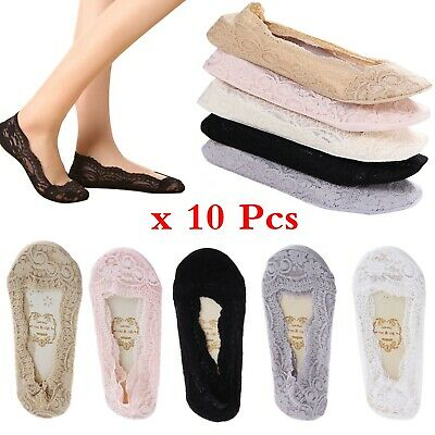 10 Pairs Women Ladies Skin Shoe Liners Footsies Invisible Thin Lace Socks Sheer