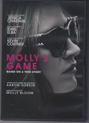 Mollys Game DVD -  2018 - Jessica Chastain -  Idris Elba - Kevin Costner
