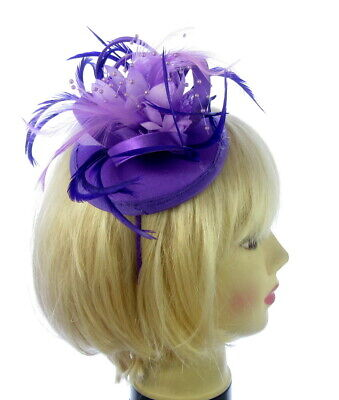 Purple and lilac fascinator cap headband , Races, Weddings, Ladies Day
