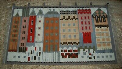"Vintage Mid-Century Poland LARGE Handwoven Wool Tapestry / Rug, 68"" x 39"""