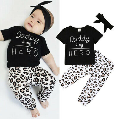 UK Newborn Baby Girls Leopard print Clothes Tops T Shirt Pants Tracksuit Outfits
