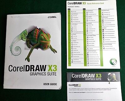 Corel Draw X3 Graphics Suite User Guide Paperback Book + Quick Reference Card