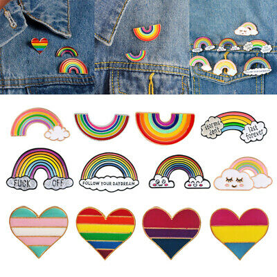 Enamel Rainbow Colour Lapel Pin Brooch Badge LGBT Gay Gift Jewelry Acces
