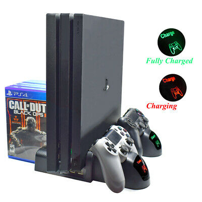 3in1 Vertical Stand Dock Controller Cooling Fan Charger For PS4 Slim/PS4 Pro