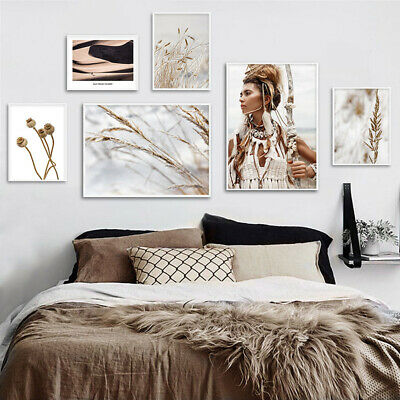 Boho Woman Grass Nature Poster Nordic Decor Landscape Wall ART Canvas Print