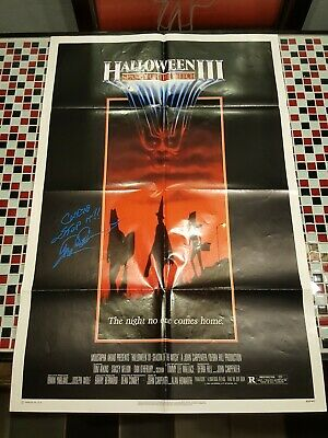 Tom Atkins Signed HALLOWEEN 3 III 1982 ORIGINAL MOVIE POSTER SEASON OF THE WITCH