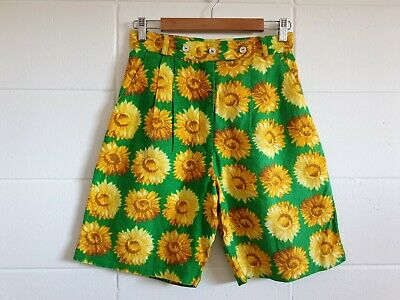 Vintage High Waist Linen Mum Shorts Sunflower Print Made in Australia