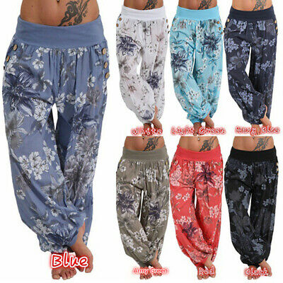 Women Thin Boho Floral Palazzo Harem Pants Casual Baggy Gypsy Hippy Trousers
