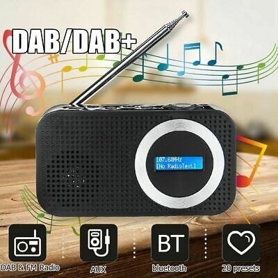 UK Portable DAB/DAB+ Radio bluetooth Digital Pocket FM RDS LED Speaker AUX Input