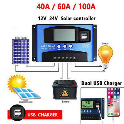 40A/60A LCD Display 2 USB MPPT Solar Panel Battery Regulator Charge Controller