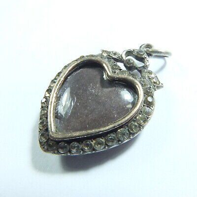 Rare Antique Victorian Silver & Diamond Paste Heart Locket Double Sided Pendant